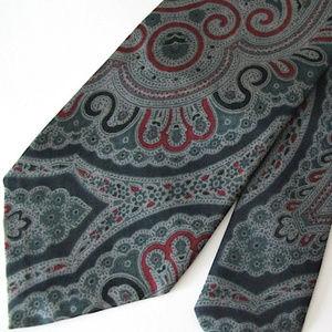 Robert Talbott Gray Paisley Silk Neck Tie Vintage